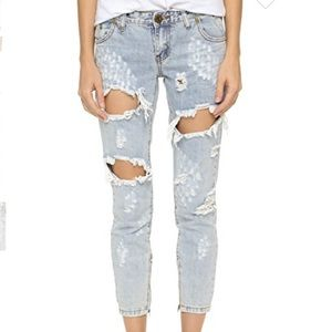 One by one teaspoon Le Homme freebird Jeans NWT